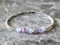 Slim Sterling Silver Bracelet With Purple Swarovski Crystals | Silver Sensations